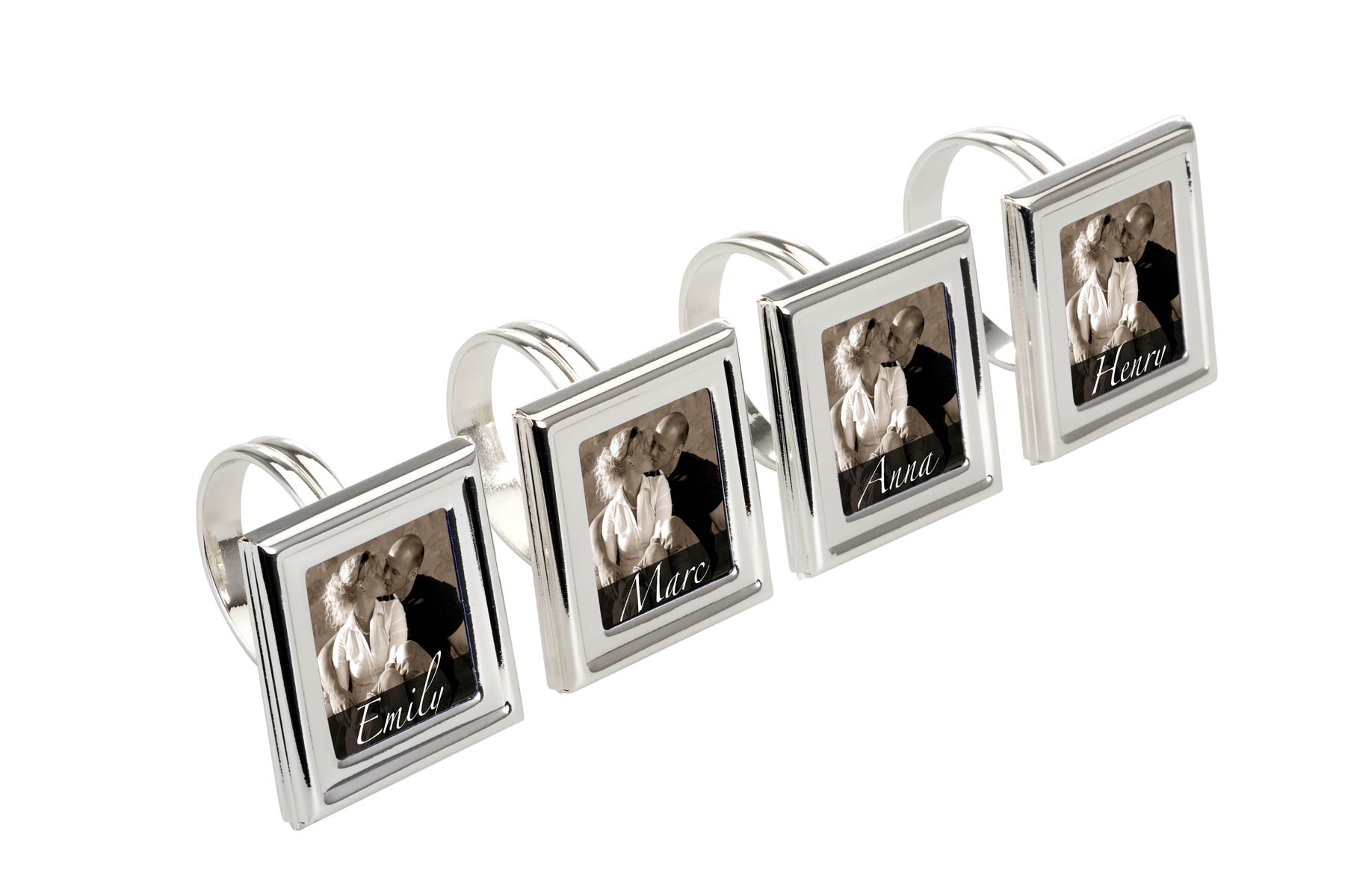 Napkin Ring Set of 4, rectangular, with Photo