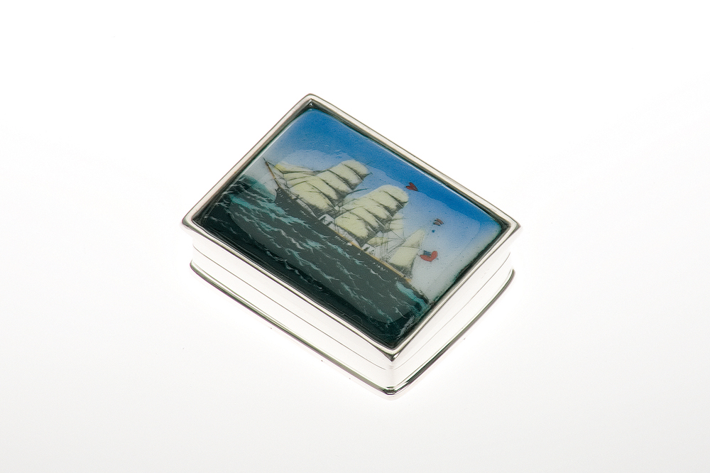 Pillbox rectangular / Ship-Design - Sterling silver