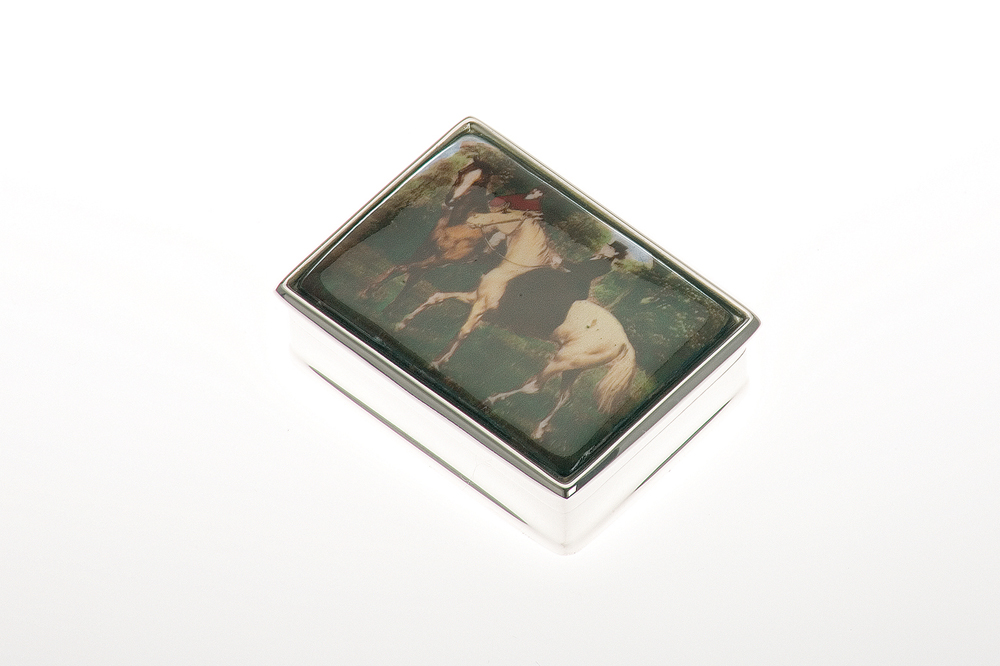 Pillbox rectangular / Equestrian-Motiv - Sterling silver