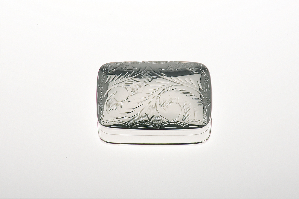 Pillbox rectangular / engraved - Sterling silver