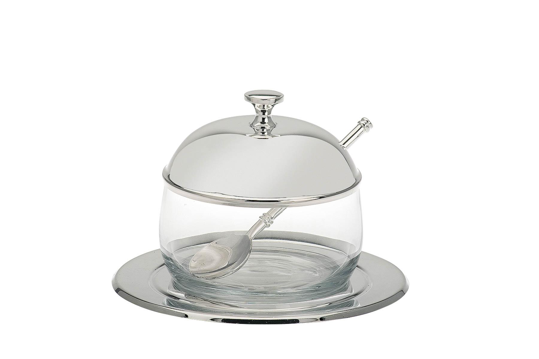marmeladenglas mit l ffel versilbert online shop wirliebendeko. Black Bedroom Furniture Sets. Home Design Ideas