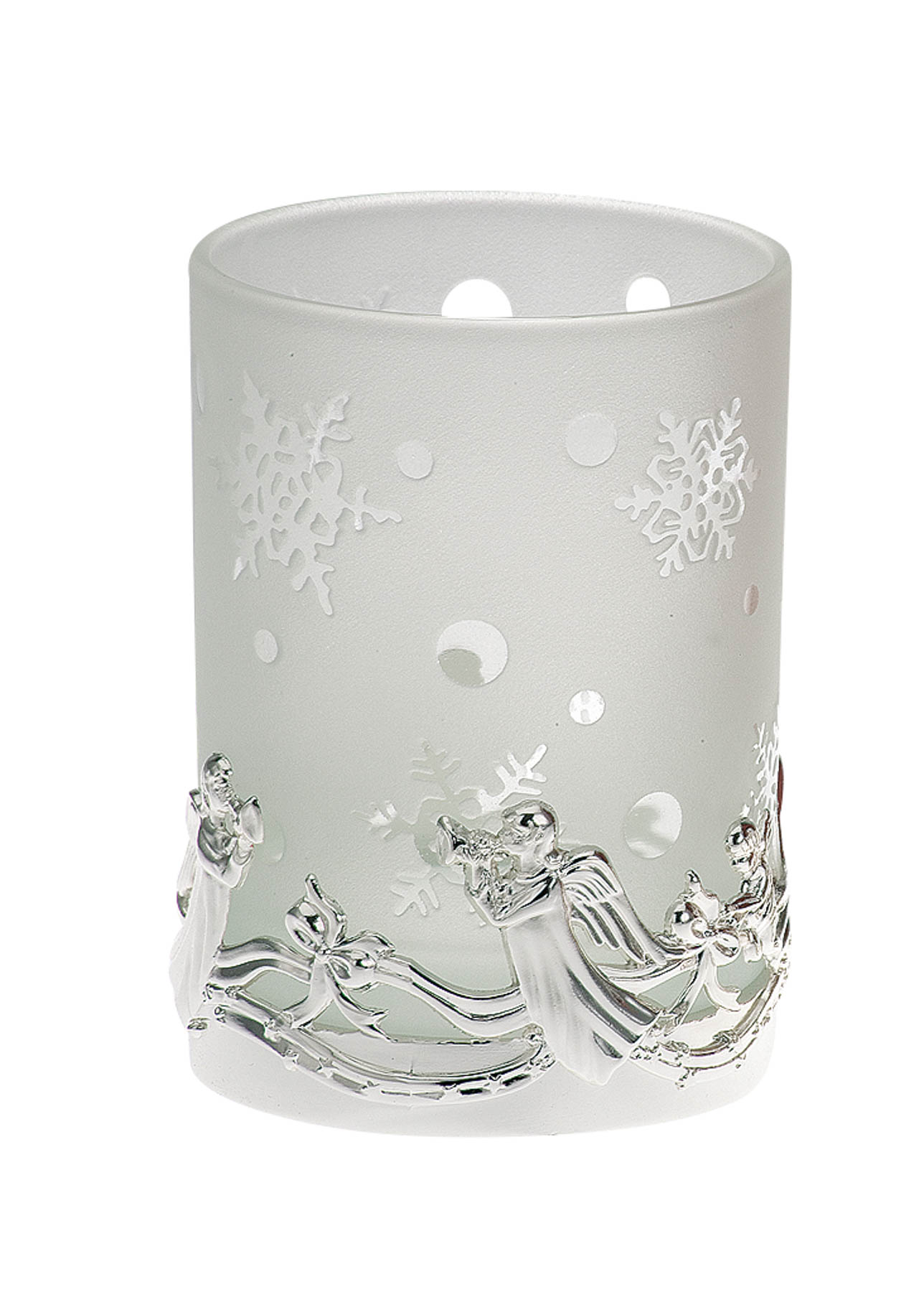 Tealight Holder Angel Pattern, white Glass
