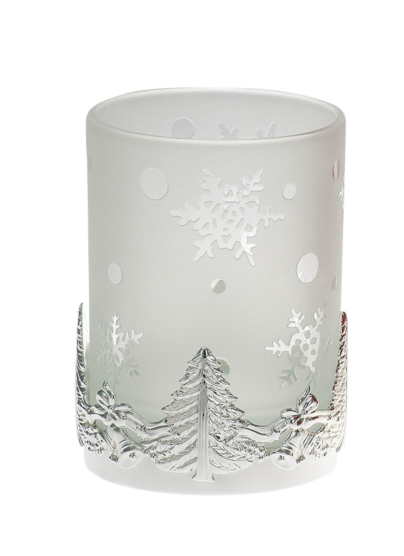 Tealight Holder Christmas Treee Pattern, white Glass