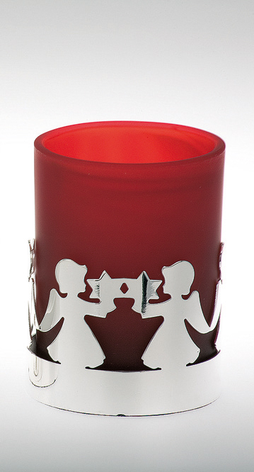 Tealight Holder Angel Pattern, red glass