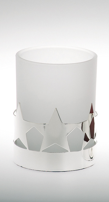 Tealight Holder Star Pattern, white glass