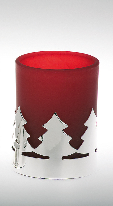 Tealight Holder Christmas Tree Pattern, red glass