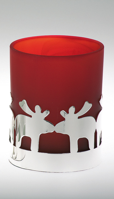 Tealight Holder Deer Pattern, red glass