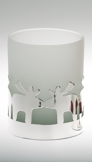 Tealight Holder Deer Pattern, white glass