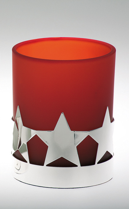 Tealight Holder Star Pattern, red glass