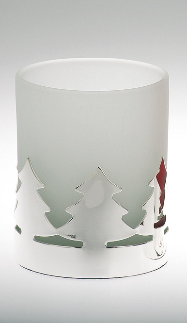 Tealight Holder Christmas Tree Pattern, white Glass