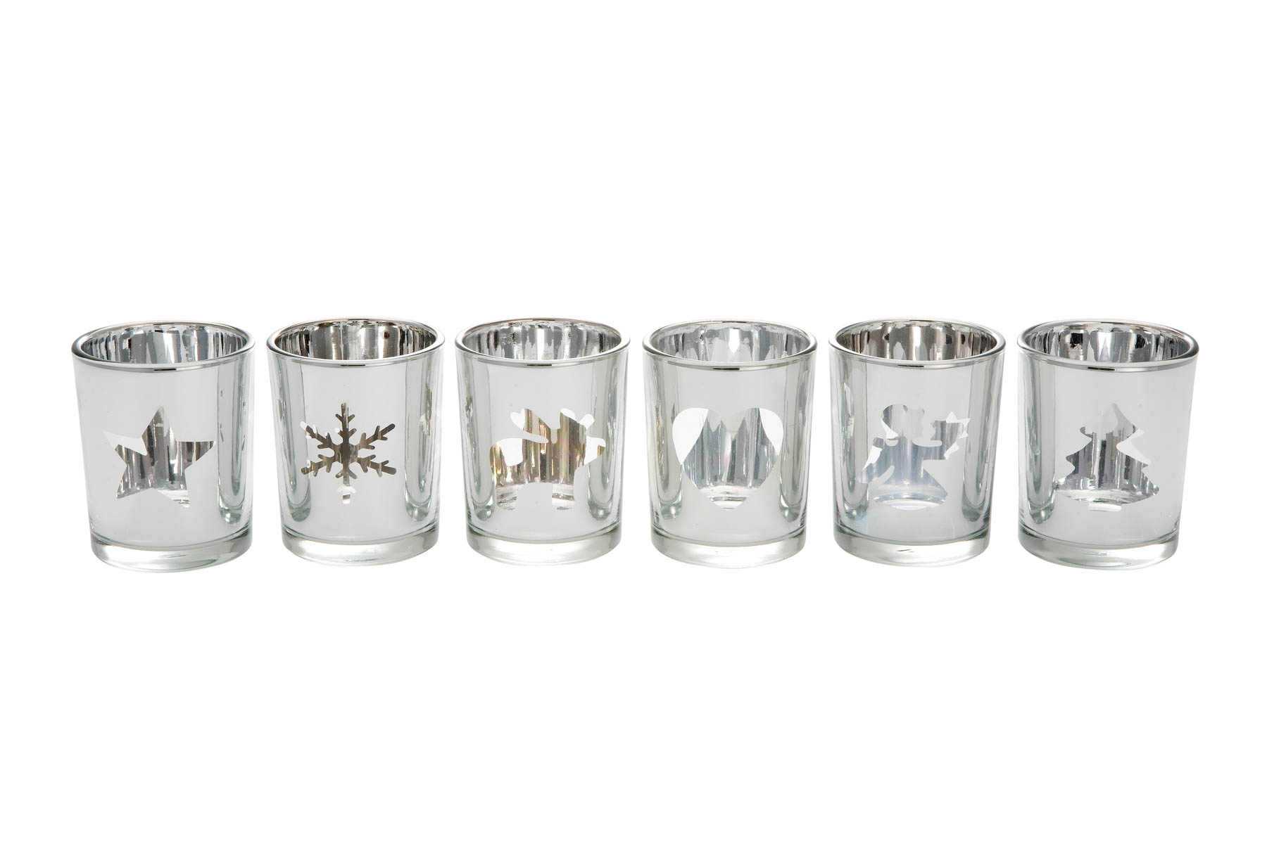 Tealight Holder Silver, Set of 6, different pattern