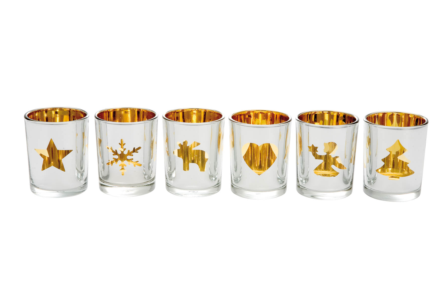 Tealight Holder Gold, Set of 6, different pattern