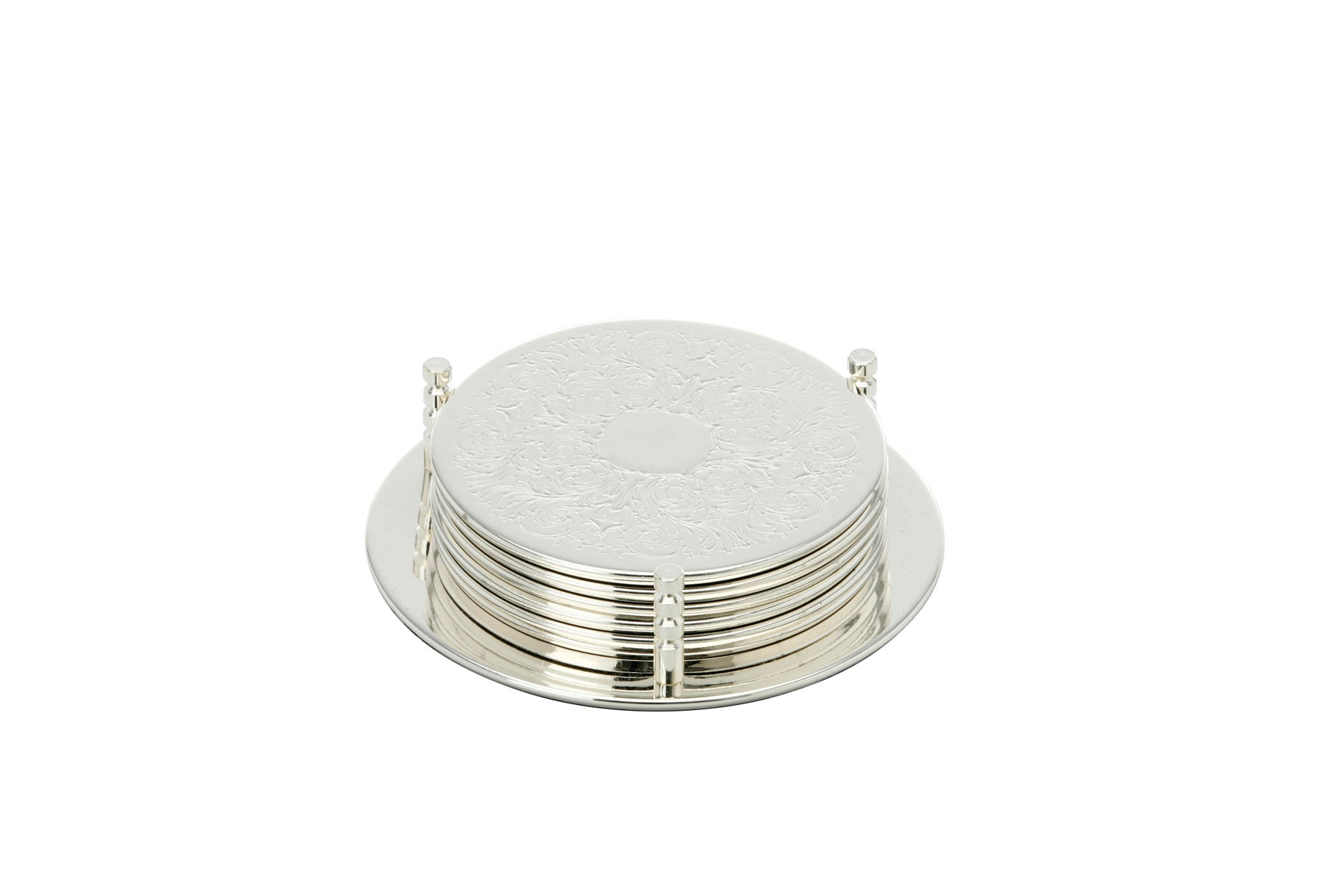 Coaster with Stand Set of 6, round, embossed