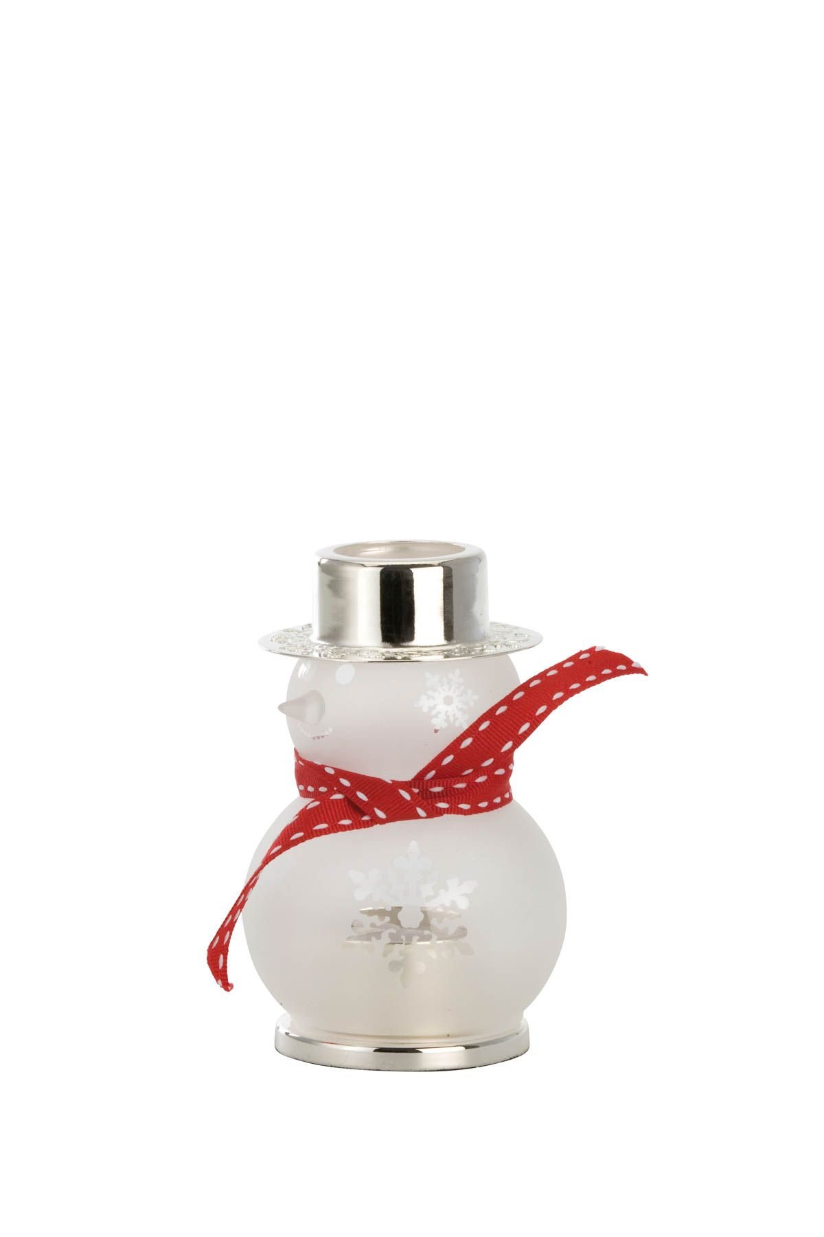 Tealight Holder Frosted Glass Snowman, small, with red ribbon