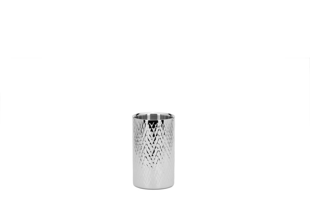 Double Wall Straight Wine Cooler Cross Pattern - Stainless Steel