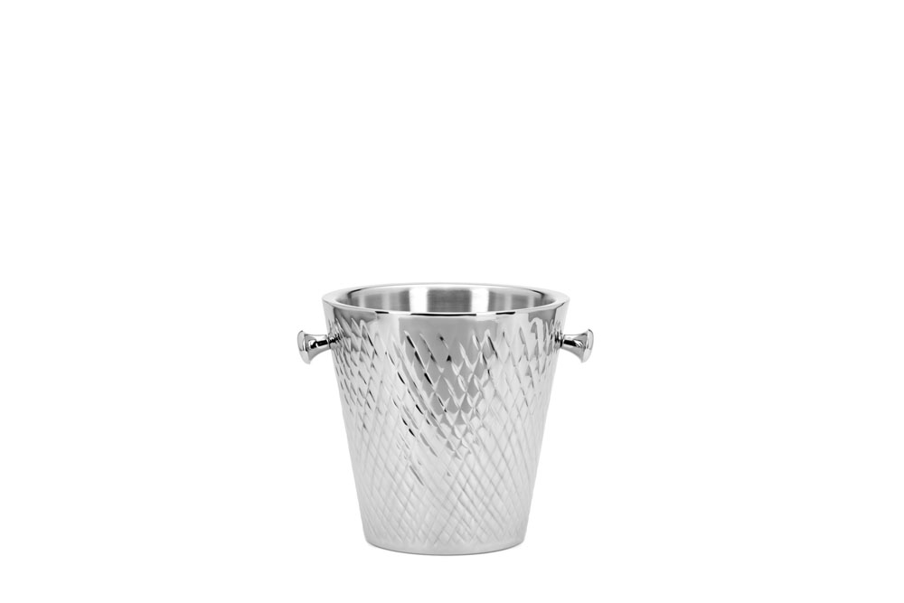 Double Wall Champagne Bucket Cross Pattern - Stainless Steel