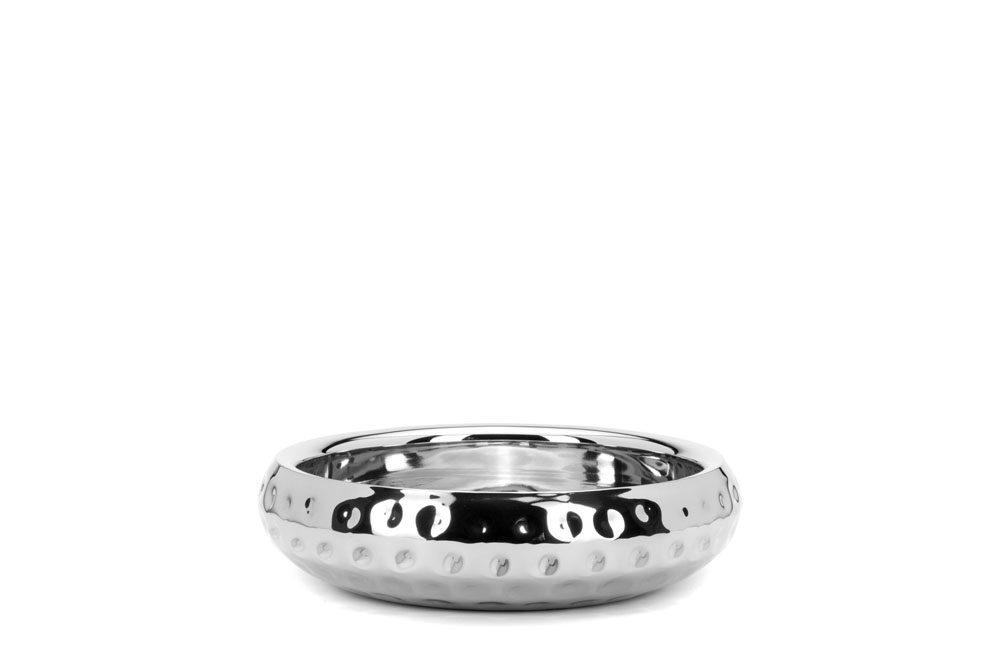 Double Wall Belly Shaped Bowl Bolt Hammered - Stainless Steel