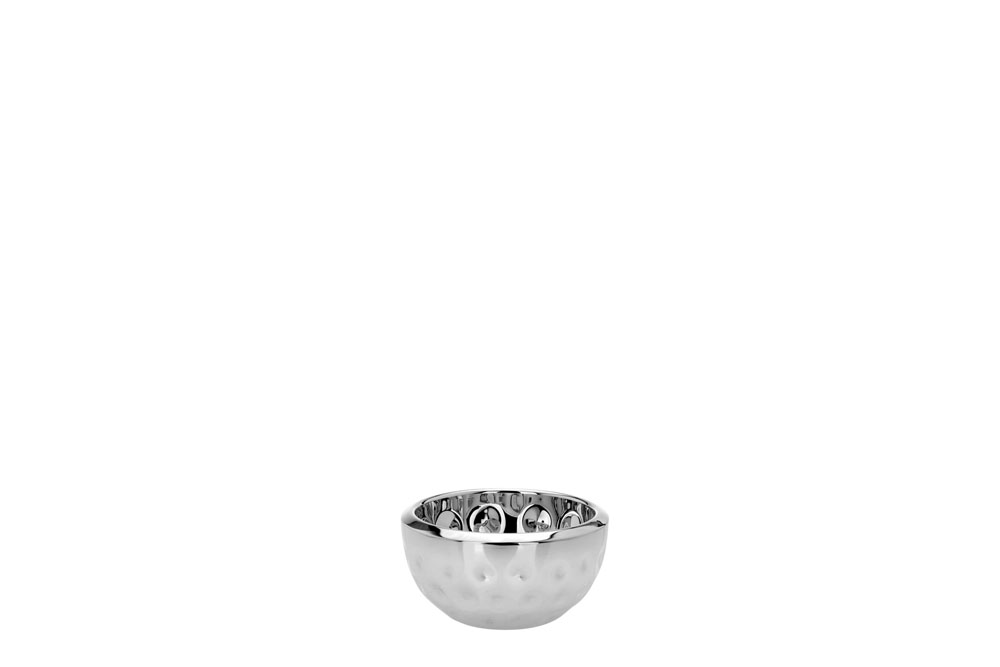Double Wall Round Salad Bowl Bolt Hammered - Stainless Steel