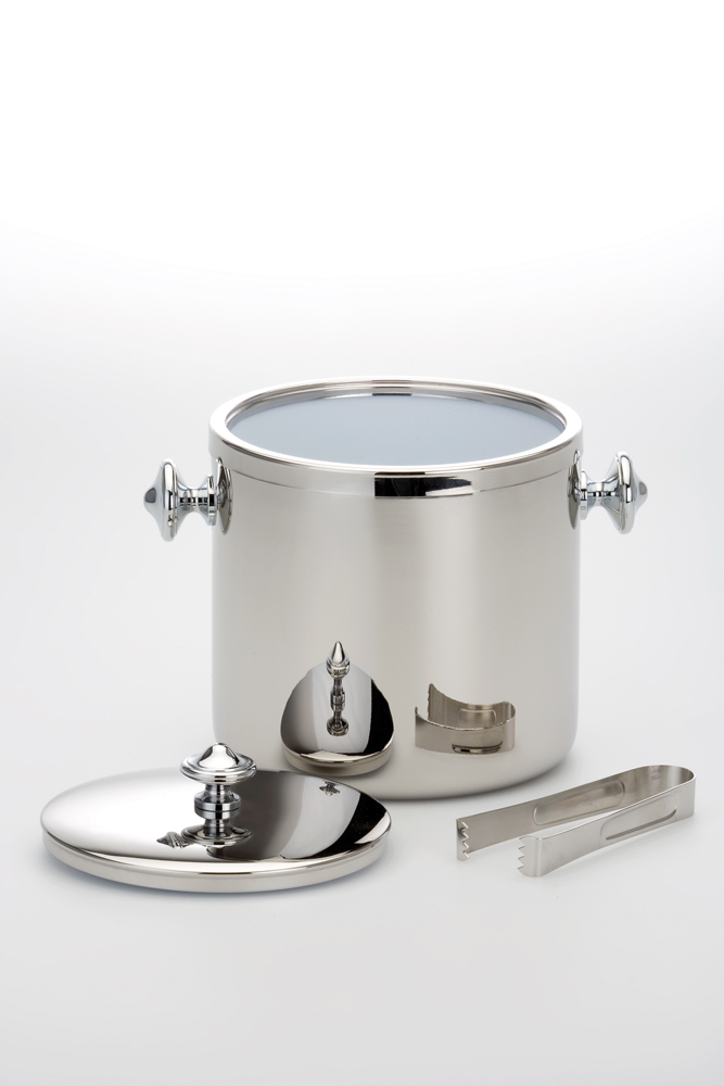 Ice Bucket with Ice Tong Stainless Steel Mirror Finish -