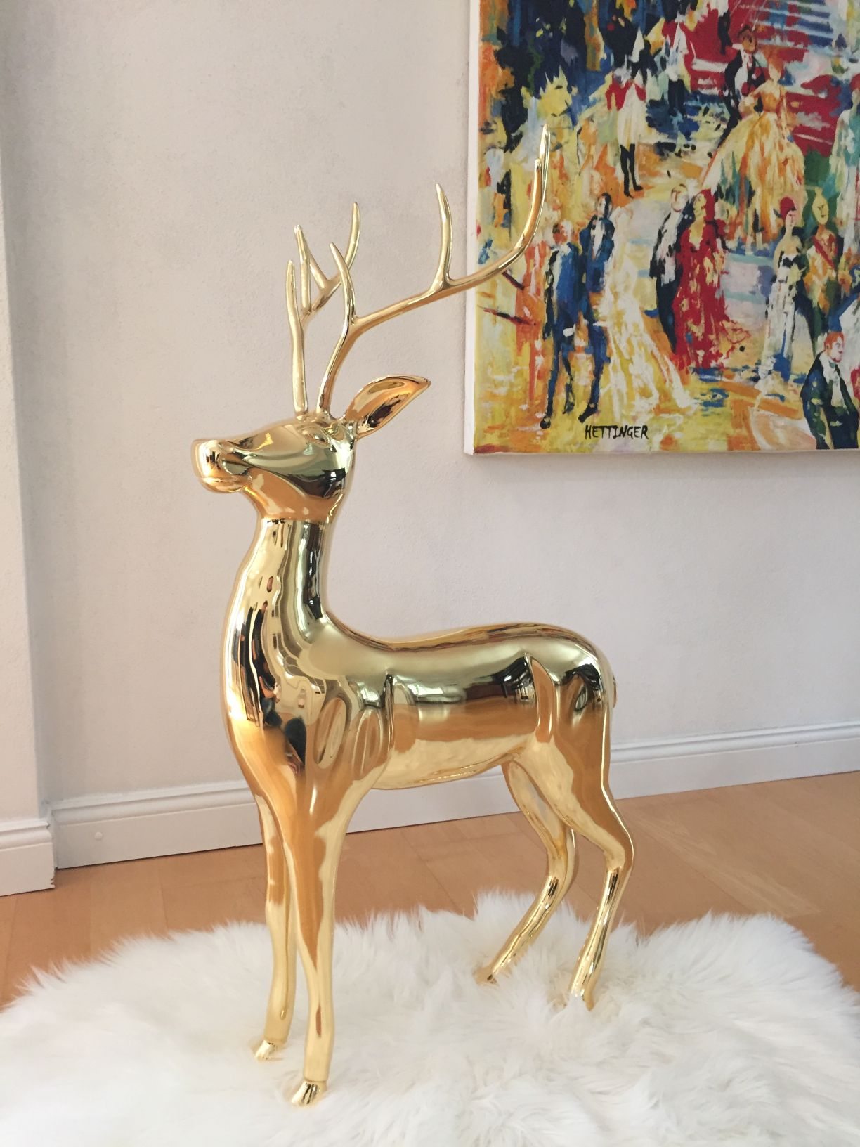 Reindeer Rudolph gold / 24 Carat gold-plated / H 93cm