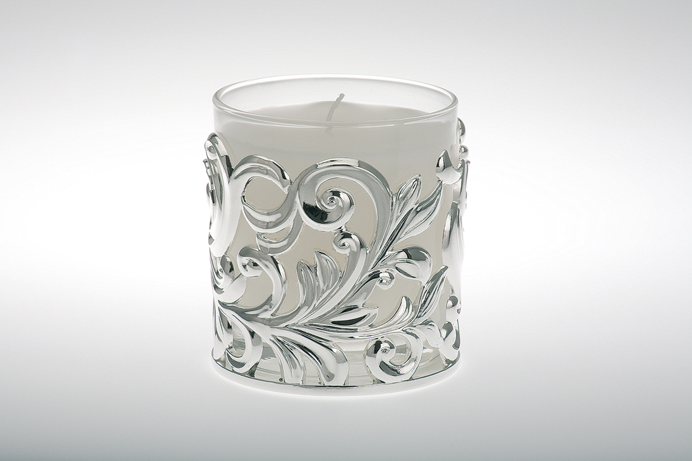 Candle Holder pierced, Clear glass filled with candle