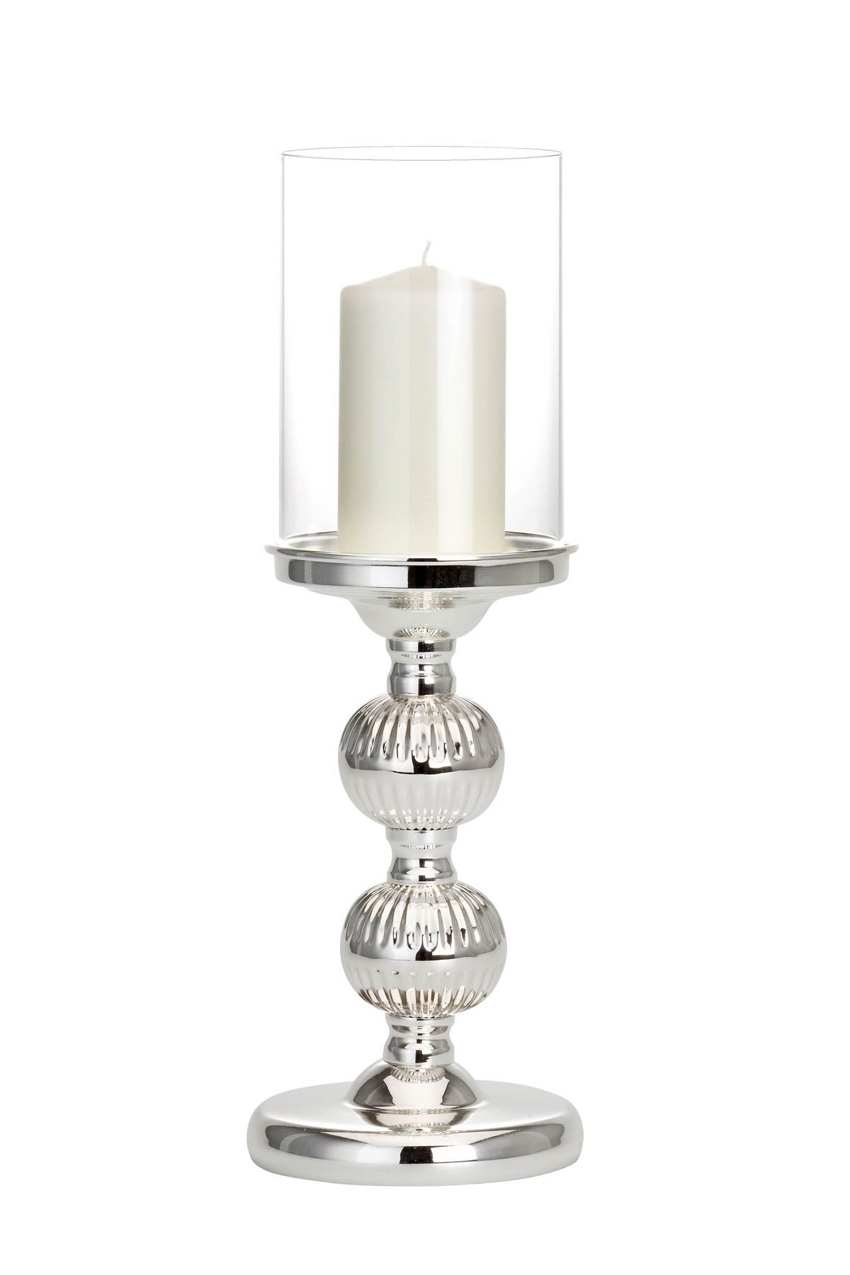 Lantern / Candle Stick  2 pieces 30 & 36 cm silver-plated