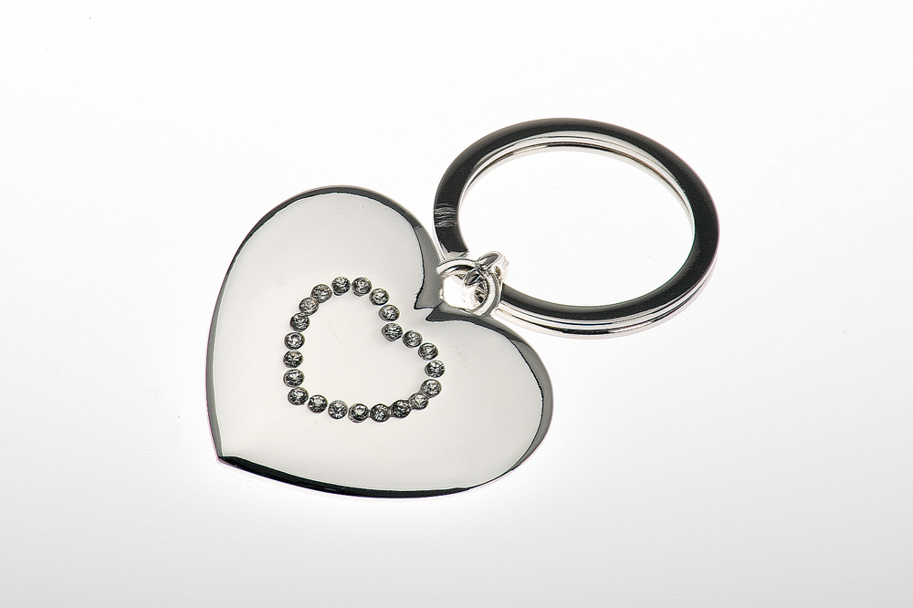 Key Chain Heart Shape with Crystals