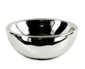 Silvered Glass Bowl - Glass / Silver
