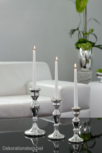 Silvered Glass Candlestick - Glass / Silver