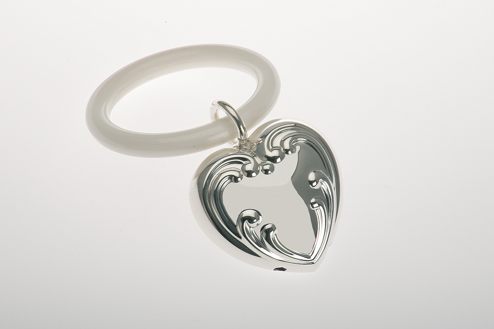 Teething Ring Embossed Heart Shape - Sterling silver