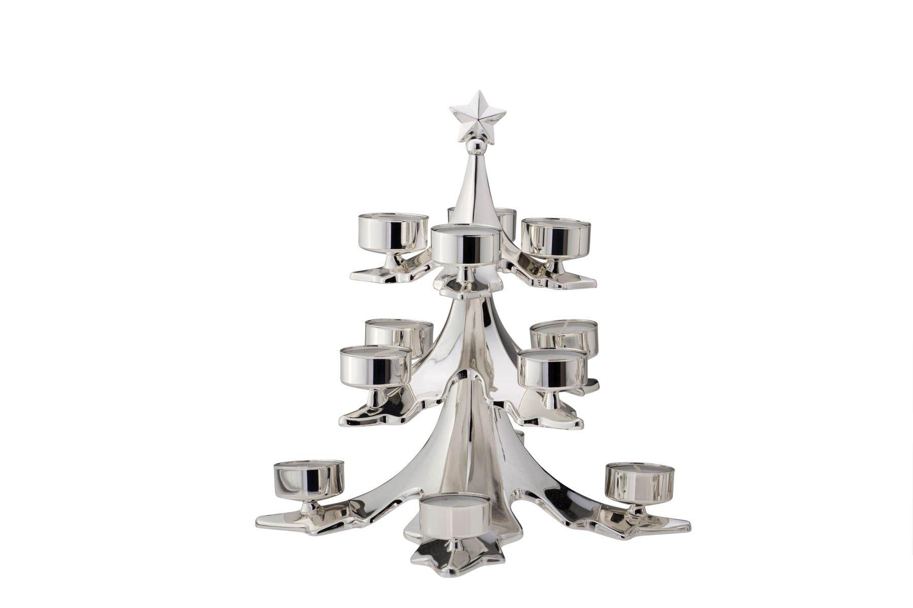 teelichthalter christbaum f r 12 teelichter versilbert online shop. Black Bedroom Furniture Sets. Home Design Ideas